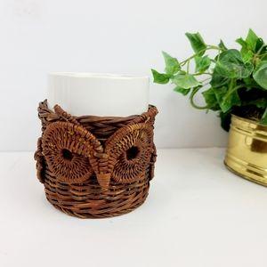 Vintage wicker Owl mug holder